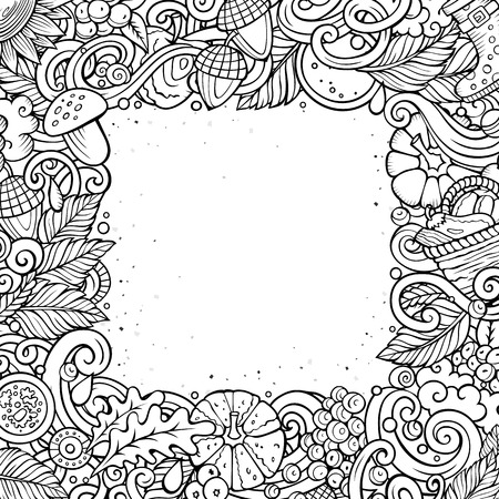 fall leaves: Cartoon cute doodles hand drawn Autumn frame design. All items are separate. Illustration
