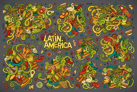 latinoamerica: Vector hand drawn Doodle cartoon set of objects and symbols on the Latin America theme Illustration