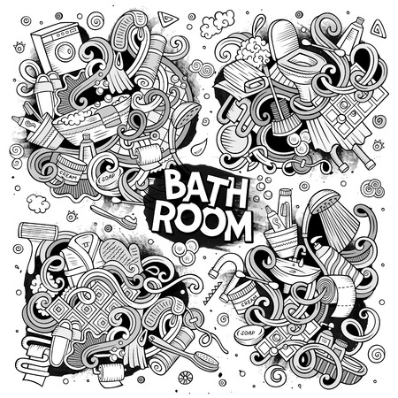Vector set of Bathroom doodles designs