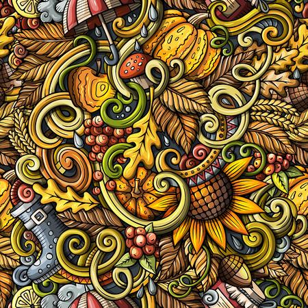 Cartoon doodles Autumn seamless pattern