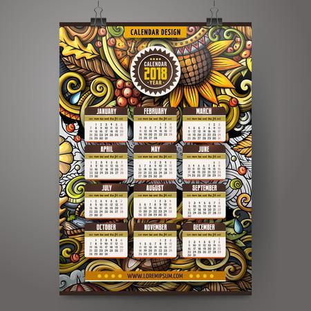 Cartoon doodles Autumn 2018 year calendar template. English, Sunday start Illustration