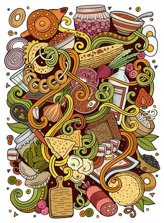 漫画かわいいいたずら書き手の描かれたロシア料理イラスト