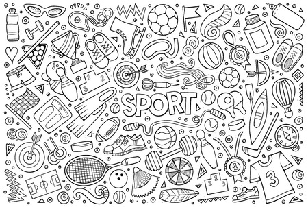 flippers: Doodle cartoon set of Sport objects and symbols Illustration