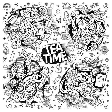 Tea time doodles hand drawn sketchy vector doodle designs Ilustração
