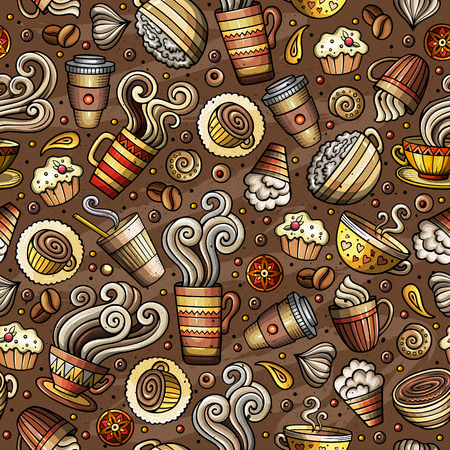 Cartoon coffee shop seamless pattern Ilustração