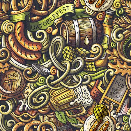 Cartoon cute doodles Octoberfest seamless pattern
