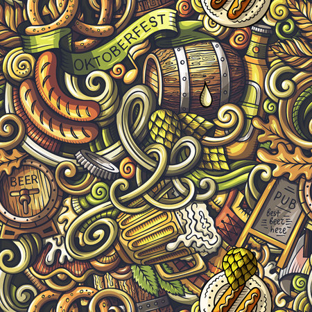 Cartoon cute doodles Octoberfest seamless pattern Reklamní fotografie - 82691800