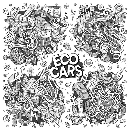 zero emission: Line art vector doodle cartoon set of Electric cars objects Illustration