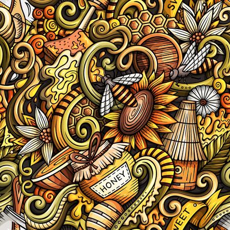 Cartoon cute doodles hand drawn Honey seamless pattern