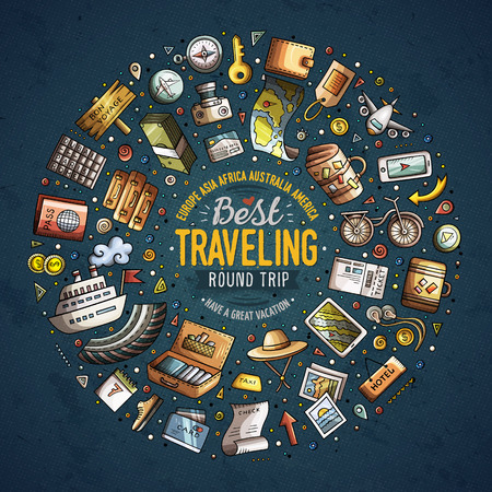 Round frame Travel cartoon objects, symbols and items