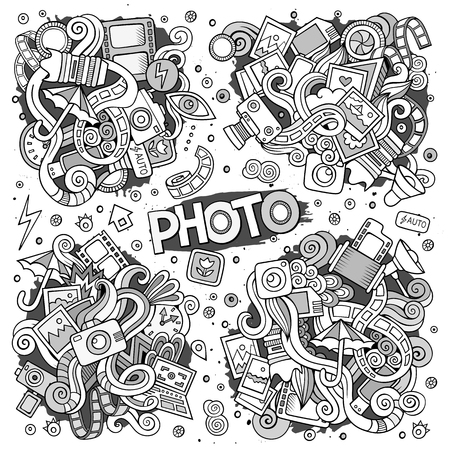 Hand drawn doodle photo sketch vector Illustration