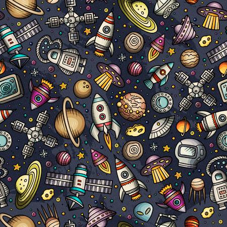 Cartoon hand-drawn space in seamless planet pattern Иллюстрация