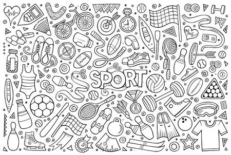 Doodle cartoon set of Sports objects and symbols