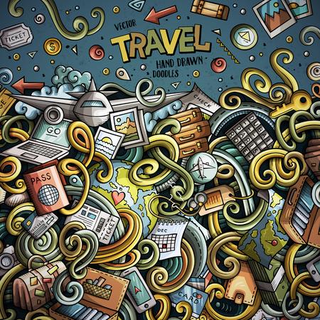 旅行フレーム デザインのかわいい落書きを漫画します。