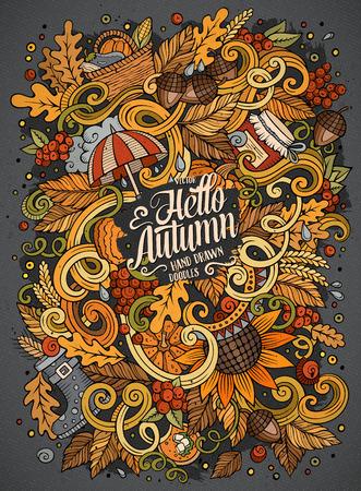 漫画かわいい落書き手描き下ろしの秋イラスト  イラスト・ベクター素材