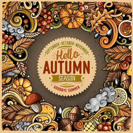漫画かわいいいたずら書き手の描かれた秋のフレーム デザイン。すべての項目が分かれています。  イラスト・ベクター素材