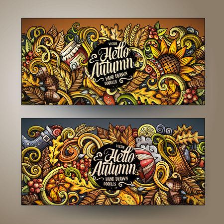 Cartoon cute colorful vector hand drawn doodles Fall season corporate identity. 2 horizontal Autumn banners design. Templates set Иллюстрация