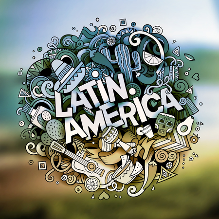 Cartoon vector hand drawn Doodle Latin America word illustration Ilustração