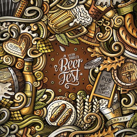 Cartoon cute doodles hand drawn Beer fest frame design