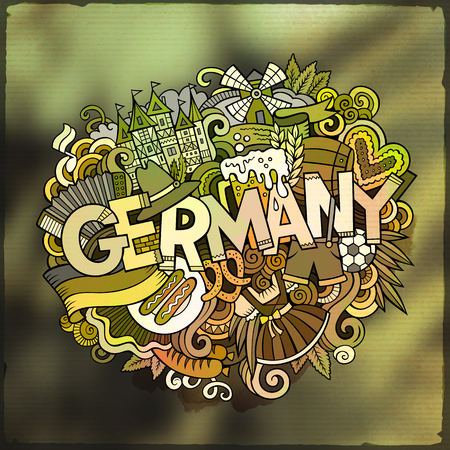 Cartoon vector hand drawn Doodle Germany word illustration. Colorful detailed, with lots of objects funny vector artwork. Blurred photo background