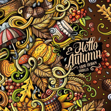 漫画かわいいいたずら書き手の描かれた秋のフレーム デザイン。詳細は、オブジェクトの背景の多くのカラフルな。面白いベクトル図です。秋テー