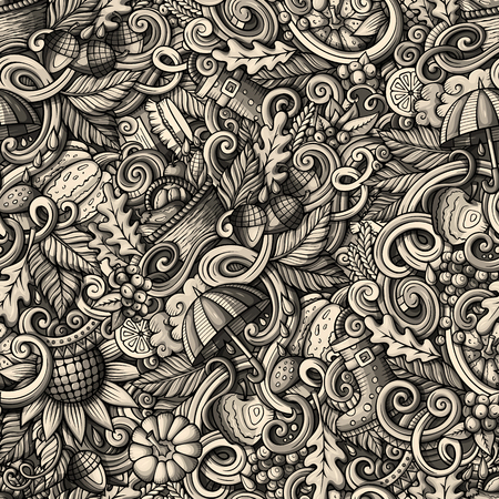 cartoon umbrella: Cartoon hand-drawn doodles on the subject of Autumn theme seamless pattern. Monochrome detailed, with lots of objects vector fall background Illustration