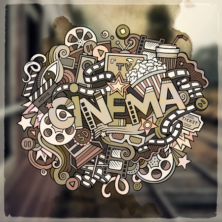 Cartoon vector hand drawn Doodle Cinema word illustration. Colorful detailed, with lots of objects funny vector artwork. Blurred photo background