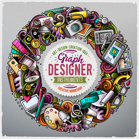 Cartoon vector doodles Design round frame design. Colorful detailed, with lots of objects illustration. All items are separate. Bright colors Art funny border