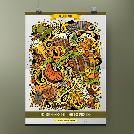 Cartoon colorful hand drawn doodles Oktoberfest poster template. Very detailed, with lots of objects illustration. Funny vector artwork. Corporate identity design Çizim