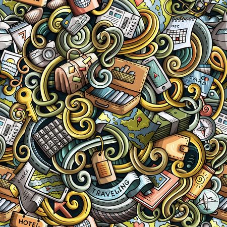 Cartoon doodles travel planning seamless pattern