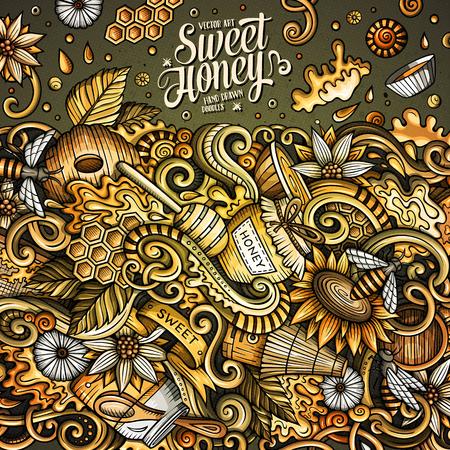 Cartoon niedlichen Gekritzel Hand gezeichnet Honig Rahmen Design Standard-Bild - 83102815