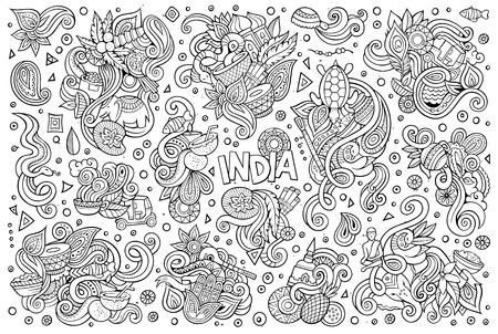Vector doodle cartoon set of Indian designs