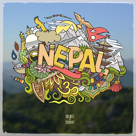 Cartoon vector hand drawn Doodle Nepal word illustration