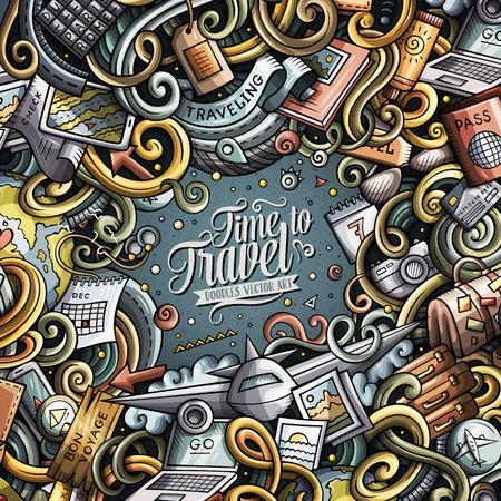 Cartoon cute doodles Travel frame design