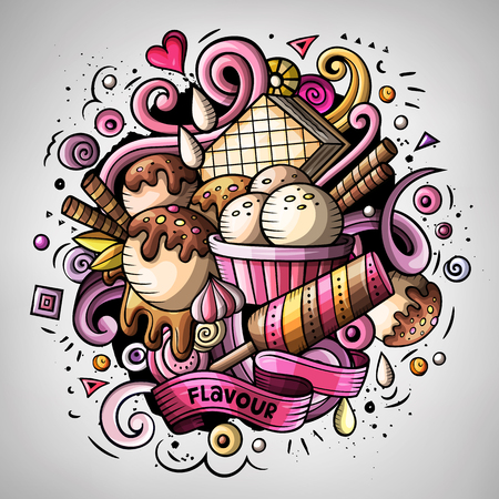 Cartoon cute doodles hand drawn Ice cream illustration Stock Photo
