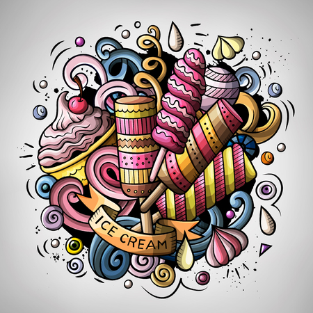 Cartoon cute doodles hand drawn Ice cream illustration. Colorful detailed, with lots of objects background. All items are separate. Funny vector artwork