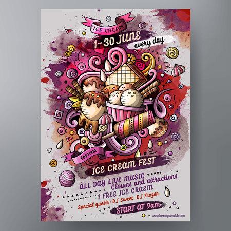 Dessin animé doodles aquarelle dessinés à la main Modèle de conception d'affiche de crème glacée. Très détaillé, avec beaucoup d'illustration d'objets séparés. Illustrations vectorielles drôles. Banque d'images - 83253528