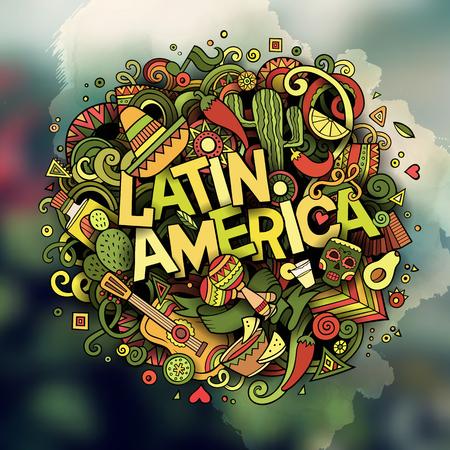 Dibujo a mano de dibujos animados dibujado Doodle ilustración de la palabra de América Latina. Colorido detallada, con un montón de objetos separados ilustraciones vectoriales divertidos.