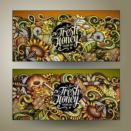 Cartoon cute colorful vector hand drawn doodles Honey corporate identity. 2 horizontal sweet food banners design. Ilustração