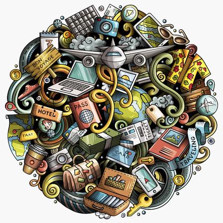 Cartoon vector doodles Reizen illustratie