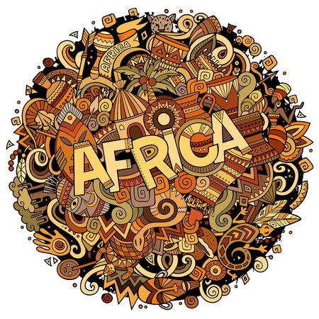 漫画かわいいいたずら書き手の描かれたアフリカの図。  イラスト・ベクター素材