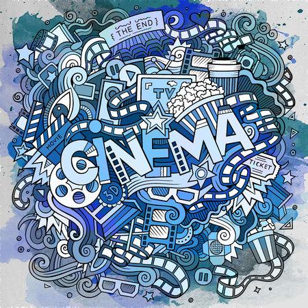 Garabatos lindo de dibujos animados dibujados a mano de inscripción Cine Foto de archivo - 83255369