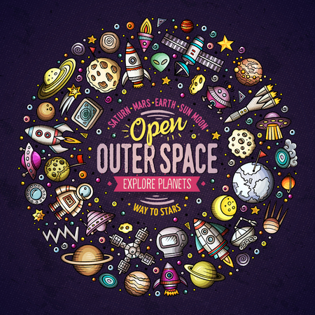 Colorful vector hand drawn set of space cartoon doodle objects, symbols, and items in round frame composition