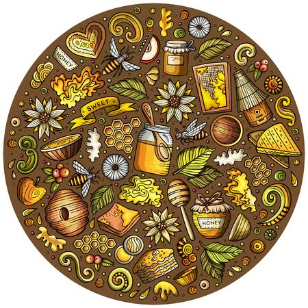 Vector set of Honey cartoon doodle objects Ilustração