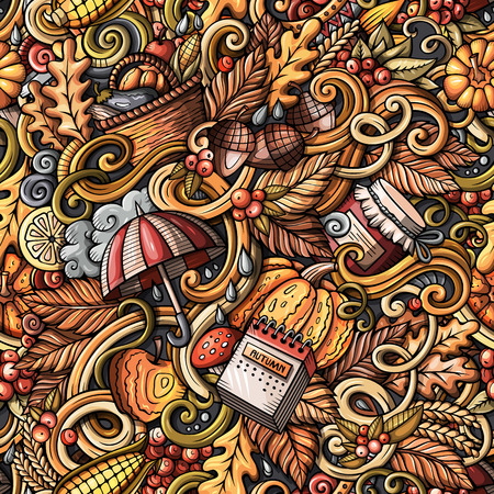 Cartoon hand-drawn doodles on the subject of Autumn theme seamless pattern. Colorful detailed, with lots of objects vector fall background