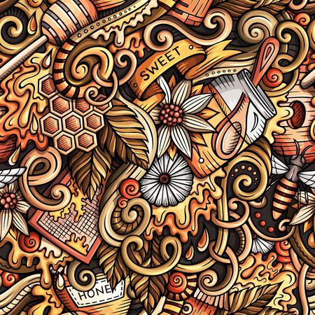 漫画かわいいいたずら書き手の描かれた蜂蜜のシームレス パターン  イラスト・ベクター素材