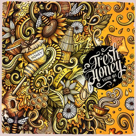 Cartoon cute doodles hand drawn Honey frame design