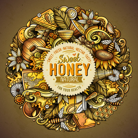 Cartoon vector doodles Honey illustration Illustration