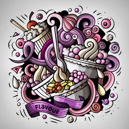 Cartoon cute doodles hand drawn Ice cream illustration Иллюстрация