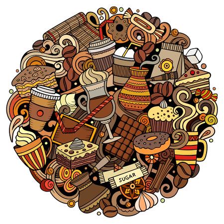 Cartoon vector doodles Coffe winkel illustratie. Kleurrijk, gedetailleerd, met veel objecten achtergrond. Alle objecten scheiden. Felle kleuren Cafe grappig rond beeld